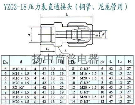 yzg2-18压力表直通终端接头-卡套式(铜管,尼龙管用)
