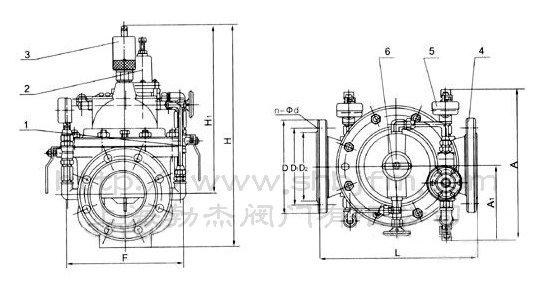 400X流量控制阀产品简介: 400X流量控制阀由主阀、流量调节阀、针阀、导阀、球阀、微形过滤器和压力表组成水力控制接管系统。利用水力自动操作,控制和调节主阀开度,使通过主阀的流量保持不变。 本产品利用水力自力控制,不需要其它装置和能源,保养简便,流量控制稳定。 本系列阀门产品广泛用于高层建筑、生活区等供水管网系统及城市供水工程。 400X流量控制阀工作原理: 当阀门从进口端给水时,水流过针阀进入主阀控制室,并经过导阀、球阀流出主阀控制室到出口,此时主阀处于全开或浮动状态。调定主阀上部的流量调节阀,可为