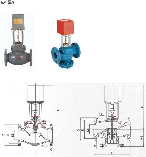 用于空气调节、热通风、热处理厂的工业和工行业的流体控制。有二通及三通形式 产品特点:   1、执行器选用铸铝支架及塑料外壳,体积小、重量轻。    2、选用永磁同步电机,并带有磁滞离合机构,具有可靠的自我保护功能。    3、适合多种控制信号:增量(浮点)、电压(0~10V)、电流(4~20mA)。    4、具有0~10V或4~20mA反馈信号(选配)。    5、传动齿轮采用金属齿轮,大大提高了驱动器的使用寿命。    6、功耗低、输出力大、噪音小。    7、阀体有铸铜、铸铁、球墨铸铁多种材质可供选